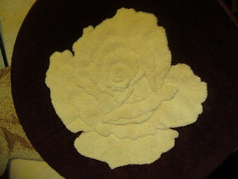 Yellow Rose-Sculpted and inset into Burgandy circle 2'
